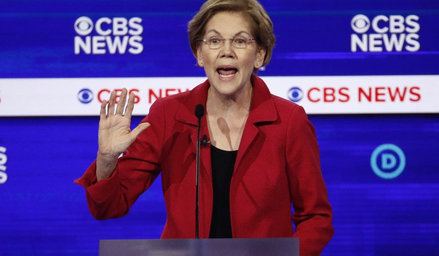 Democratic presidential candidate Sen. Elizabeth Warren, D-Mass., speaks during a Democratic presidential primary debate at the Gaillard Center, Tuesday, Feb. 25, 2020, in Charleston, S.C., co-hosted by CBS News and the Congressional Black Caucus Institute. (AP Photo/Patrick Semansky)