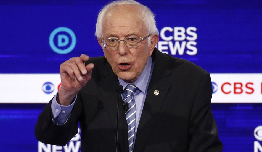 =Democratic presidential candidate Sen. Bernie Sanders, I-Vt., speaks during a Democratic presidential primary debate at the Gaillard Center, Tuesday, Feb. 25, 2020, in Charleston, S.C., co-hosted by CBS News and the Congressional Black Caucus Institute. (AP Photo/Patrick Semansky)