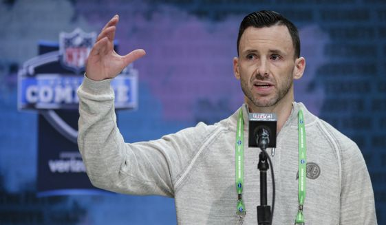 Washington Redskins vice president of player personnel Kyle Smith speaks during a press conference at the NFL football scouting combine in Indianapolis, Tuesday, Feb. 25, 2020. (AP Photo/Michael Conroy)