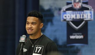 Alabama quarterback Tua Tagovailoa speaks during a press conference at the NFL football scouting combine in Indianapolis, Tuesday, Feb. 25, 2020. (AP Photo/Charlie Neibergall) ** FILE **