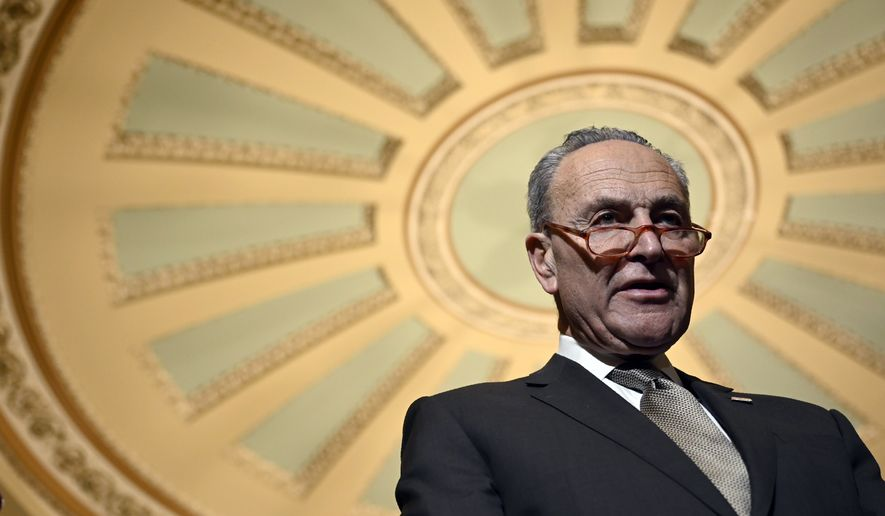 Senate Minority Leader Sen. Chuck Schumer of N.Y., during a news conference on Capitol Hill in Washington, Tuesday, Feb. 25, 2020. (AP Photo/Susan Walsh)