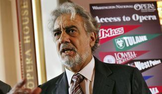 In this May 23, 2007, file photo, Placido Domingo, general director of the Washington National Opera, speaks during a news conference in Washington about a simulcast of a performance of La Boheme. An investigation into Domingo by the U.S. union representing opera performers found more than two dozen people who said they were sexually harassed or witnessed inappropriate behavior by the superstar when he held senior management positions at Washington National Opera and Los Angeles Opera, according to people familiar with the findings. (AP Photo/Jacquelyn Martin, File)