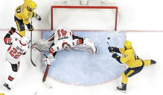 Nashville Predators center Colin Blackwell (42) scores a goal against Ottawa Senators goaltender Craig Anderson (41) in the first period of an NHL hockey game Tuesday, Feb. 25, 2020, in Nashville, Tenn. (AP Photo/Mark Humphrey)