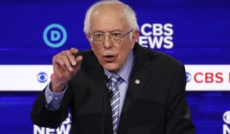 Democratic presidential candidate Sen. Bernie Sanders, I-Vt., speaks during a Democratic presidential primary debate at the Gaillard Center, Tuesday, Feb. 25, 2020, in Charleston, S.C., co-hosted by CBS News and the Congressional Black Caucus Institute. (AP Photo/Patrick Semansky)