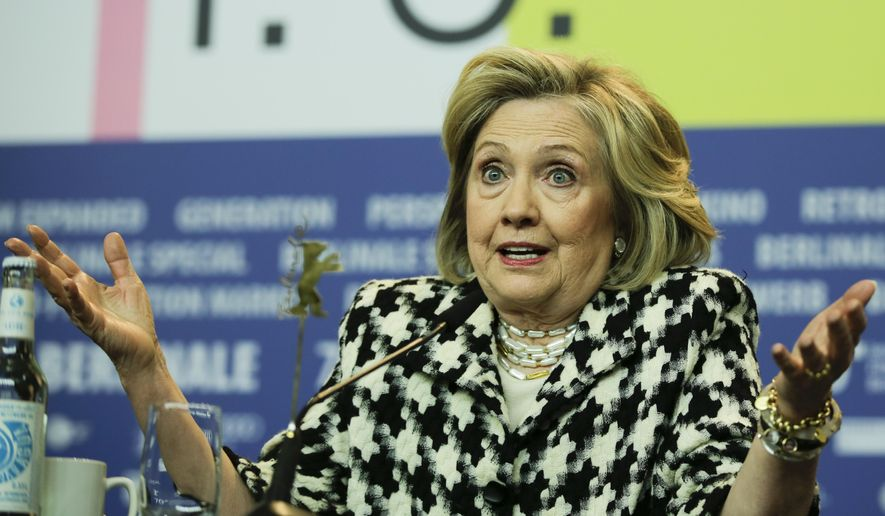 """Former U.S. Secretary of State, Hillary Clinton, attends a news conference for the film """"Hillary"""" during the 70th International Film Festival Berlin, Berlinale in Berlin, Germany, Tuesday, Feb. 25, 2020. (AP Photo/Markus Schreiber) ** FILE **"""