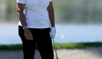 FILE - In this April 4, 2019, file photo, Cristie Kerr reacts to her approach shot on the 18th hole during the first round of the LPGA Tour ANA Inspiration golf tournament at Mission Hills Country Club in Rancho Mirage, Calif. Kerr will be part of Golf Channel's broadcast team at the Honda Classic this week. (AP Photo/Chris Carlson, File)
