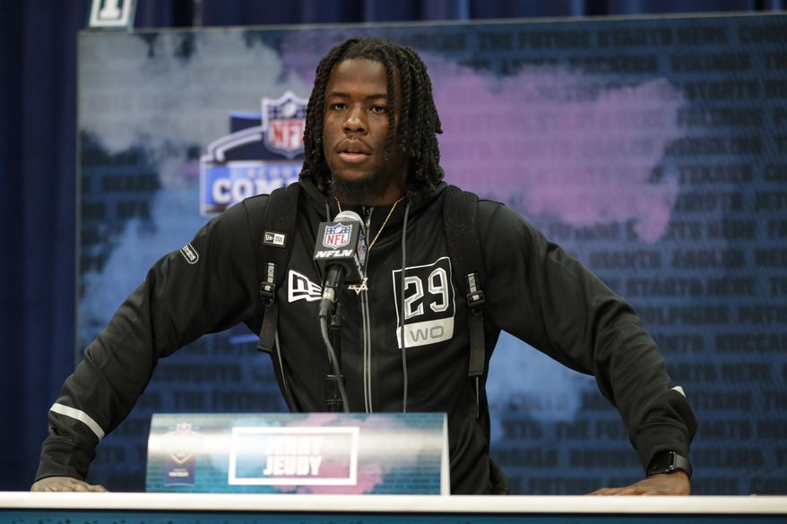 Alabama wide receiver Jerry Jeudy speaks during a press conference at the NFL football scouting combine in Indianapolis, Tuesday, Feb. 25, 2020. (AP Photo/Michael Conroy) **FILE**