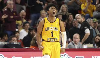 Arizona State's Remy Martin (1) shows his feelings after a run by his Sun Devils against Oregon State during the second half of an NCAA college basketball game Saturday, Feb. 22, 2020, in Tempe, Ariz. (AP Photo/Darryl Webb)