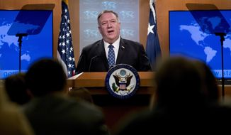 Secretary of State Mike Pompeo speaks at a news conference at the State Department, Tuesday, Feb. 25, 2020, in Washington. (AP Photo/Andrew Harnik)