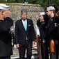 180625-N-FP878-183 OSLO, Norway (June 25, 2018) Kenneth J. Braithwaite, U.S. ambassador to Norway, boards the Arleigh Burke-class guided-missile destroyer USS Bainbridge (DDG 96) during a scheduled port visit to Oslo, Norway, June 25, 2018. Bainbridge, homeported at Naval Station Norfolk, is conducting naval operations in the U.S. 6th Fleet area of operations in support of U.S. national security interests in Europe and Africa. (U.S. Navy photo by Mass Communication Specialist 1st Class Theron J. Godbold/Released)
