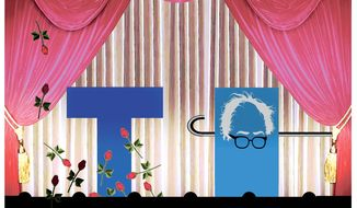 Illustration on trump versus Sanders by Alexander Hunter/The Washington Times