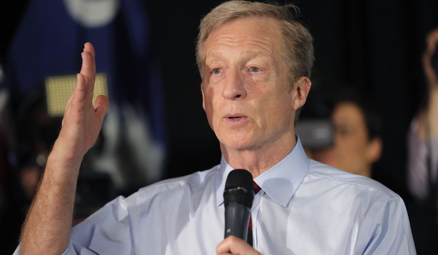 Democratic presidential candidate Tom Steyer speaks at a campaign event in Myrtle Beach, S.C., Wednesday, Feb. 26, 2020. (AP Photo/Gerald Herbert)