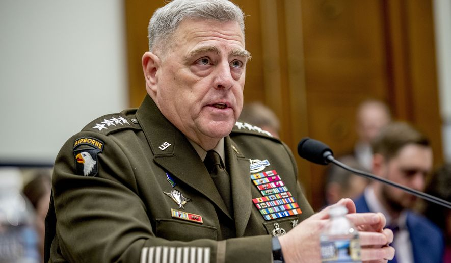 Joint Chiefs of Staff Chairman Gen. Mark Milley speaks at a House Armed Services Committee hearing on Capitol Hill, Wednesday, Feb. 26, 2020, in Washington. (AP Photo/Andrew Harnik)