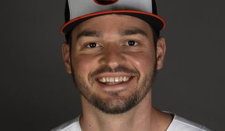 This is a 2020 photo of Trey Mancini of the Baltimore Orioles baseball team. This image reflects the 2020 active roster as of Feb. 18, 2020 when this image was taken. (AP Photo/John Bazemore)