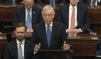 In this image from video, Senate Majority Leader Mitch McConnell, R-Ky., speaks on the Senate floor about the impeachment trial against President Donald Trump at the U.S. Capitol in Washington, Wednesday, Feb. 5, 2020. The Senate will vote on the Articles of Impeachment on Wednesday afternoon, Feb. 5. (Senate Television via AP)