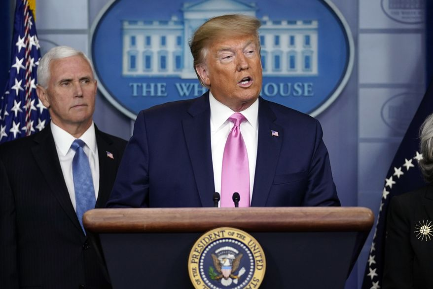 President Donald Trump, with Vice President Mike Pence, and other members of the President's Coronavirus Task Force speaks during a news conference in the Brady Press Briefing Room of the White House, Wednesday, Feb. 26, 2020, in Washington. (AP Photo/Evan Vucci)