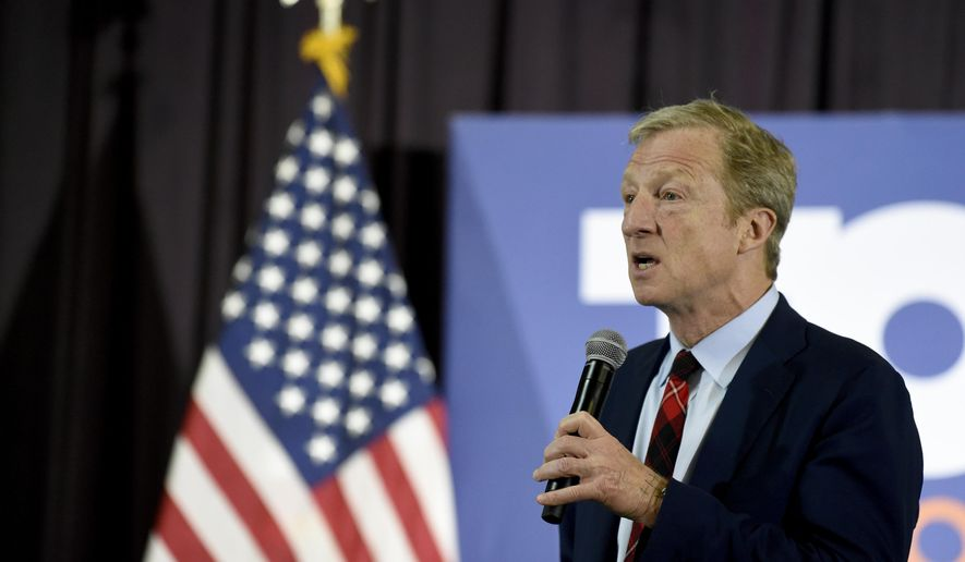 Democratic presidential hopeful Tom Steyer speaks at a town hall campaign event on Wednesday, Feb. 26, 2020, in Georgetown, S.C. (AP Photo/Meg Kinnard)