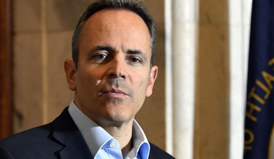FILE - In this Nov. 14, 2019, file photo, Kentucky Gov. Matt Bevin speaks with reporters  in Frankfort, Ky as he conceded the gubernatorial race to Democrat challenger Andy Beshear. The Kentucky Senate has advanced a proposal to prevent governors from issuing last-minute pardons before leaving office. The proposed constitutional change is a response to a flurry of controversial pardons by the previous governor, Republican Matt Bevin. (AP Photo/Timothy D. Easley, File)
