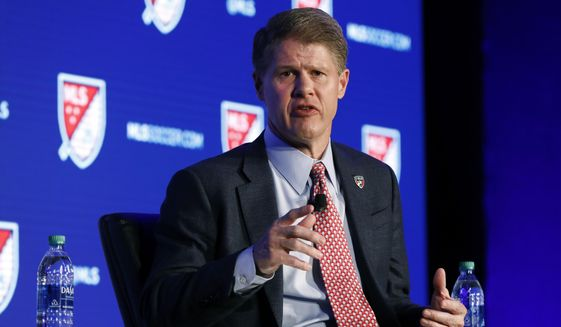 FC Dallas and Kansas City Chiefs Chairman & CEO Clark Hunt is interviewed during the Major League Soccer 25th Season kickoff event in New York, Wednesday, Feb. 26, 2020. (AP Photo/Richard Drew)  **FILE**