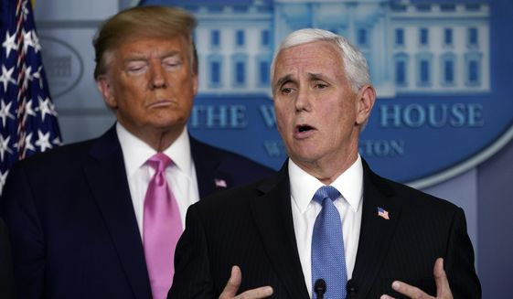 Vice President Mike Pence speaks as President Donald Trump listens during a news conference about the coronavirus in the Brady Press Briefing Room of the White House, Wednesday, Feb. 26, 2020, in Washington. (AP Photo/Evan Vucci)  **FILE**