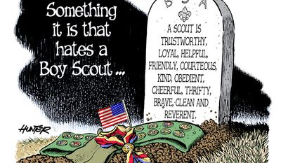 Something it is that hates a Boy Scout ... (Illustration by Alexander Hunter for The Washington Times)