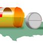 Illustration on Canadian drug importation by Alexander Hunter/The Washington Times