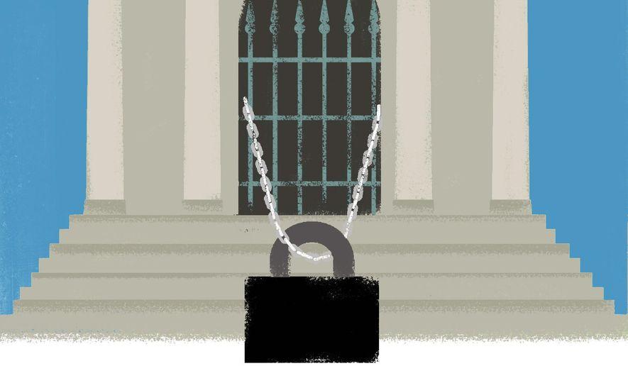 Discrimination and economy terrorist illustration by Linas Garsys / The Washington Times