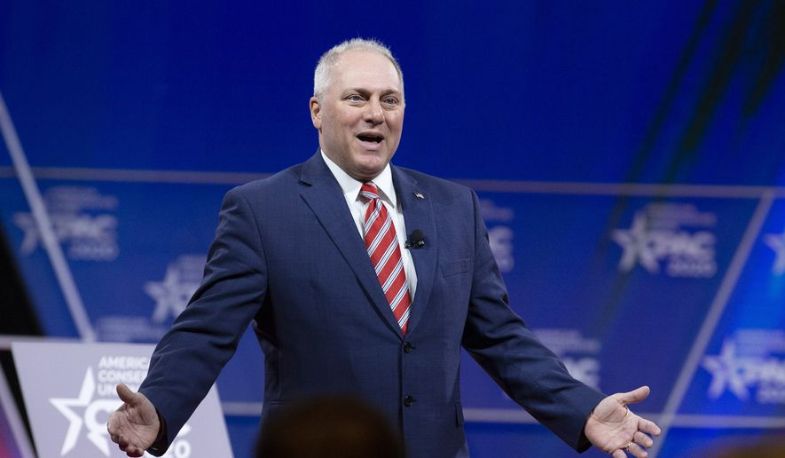 Rep. Steve Scalise, R-La., speaks during the Conservative Political Action Conference, CPAC 2020, at the National Harbor, in Oxon Hill, Md., Thursday, Feb. 27, 2020. (AP Photo/Jose Luis Magana)