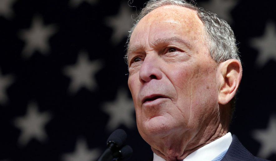 Democratic presidential candidate former New York City Mayor Mike Bloomberg speaks during a rally at The Rustic Restaurant Thursday, Feb. 27, 2020, in Houston. (AP Photo/Michael Wyke)