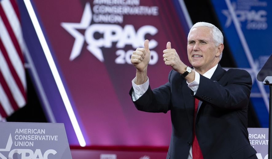 Vice President Mike Pence gives the thumbs-up during the Conservative Political Action Conference, CPAC 2020, at the National Harbor, in Oxon Hill, Md., Thursday, Feb. 27, 2020. (AP Photo/Jose Luis Magana)