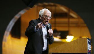 Democratic presidential candidate Sen. Bernie Sanders, I-Vt., speaks at a campaign rally Thursday, Feb. 27, 2020, in Richmond, Va. (AP Photo/Steve Helber)
