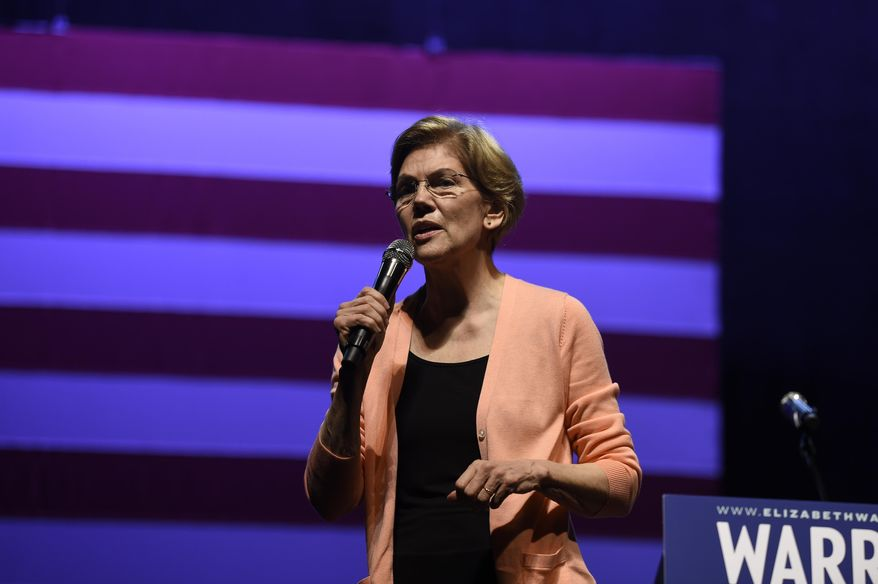 Democratic presidential hopeful Elizabeth Warren speaks at a get-out-the-vote rally on Wednesday, Feb. 26, 2020, in Charleston, S.C. (AP Photo/Meg Kinnard)