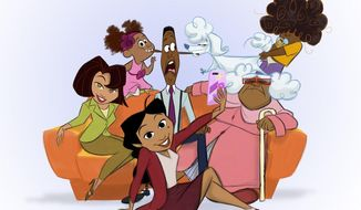 "This image released by Disney Plus shows characters from a revival of the new animated series ""The Proud Family: Louder and Prouder"" The new series will feature original cast members including Kyla Pratt as Penny Proud and Tommy Davidson and Paula Jai Parker as her parents, Oscar and Trudy. (Disney+ via AP)"