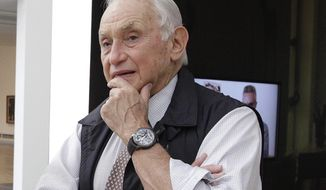 FILE - This Sept. 19, 2014 file photo shows retail mogul Leslie Wexner, at the Wexner Center for the Arts in Columbus, Ohio. Wexner, who founded L Brands, will step down as chairman and CEO after the transaction is completed and become chairman emeritus. (AP Photo/Jay LaPrete, File)