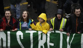 Climate activist Greta Thunberg, from Sweden, center, marches with other demonstrators as she participates in a school strike climate protest in Bristol, south west England, Friday, Feb. 28, 2020. (AP Photo/Matt Dunham)
