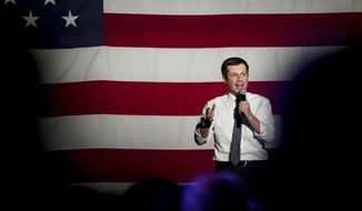 In this Feb. 17, 2020, file photo, Democratic presidential candidate and former South Bend, Ind. Mayor Pete Buttigieg speaks at The Union Event Center in Salt Lake City. Democratic presidential candidates like to boast about their ability to lure away disaffected Republican voters. If there's a place to test their skills, it's Utah. The deep red state is a bastion of conservative resistance to President Donald Trump. (Spenser Heaps/The Deseret News via AP, File)