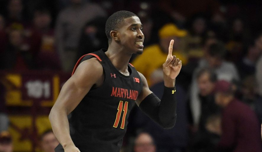 Maryland's Darryl Morsell celebrates his go-ahead 3-point basket against Minnesota late in the second half of an NCAA college basketball game Wednesday, Feb. 26, 2020, in Minneapolis. Maryland won 74-73. (AP Photo/Hannah Foslien) **FILE**
