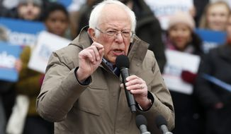 Democratic presidential candidate Sen. Bernie Sanders, I-Vt., campaigns during a rally on Boston Common, Saturday, Feb. 29, 2020, in Boston. (AP Photo/Mary Schwalm)