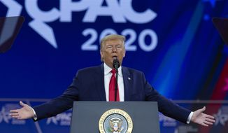 President Donald Trump speaks during Conservative Political Action Conference, CPAC 2020, at the National Harbor, in Oxon Hill, Md., Saturday, Feb. 29, 2020. (AP Photo/Jose Luis Magana)  **FILE**