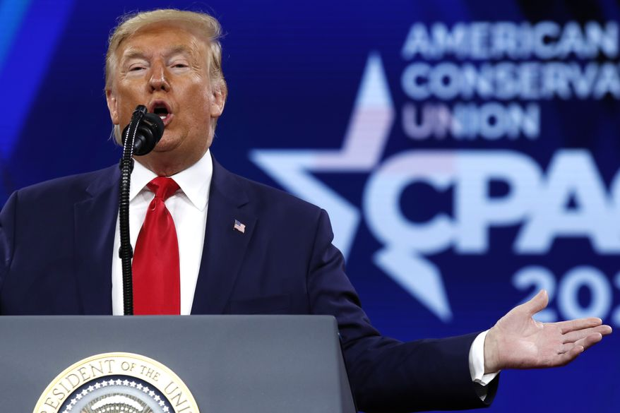President Donald Trump speaks at the Conservative Political Action Conference, CPAC 2020, at National Harbor in Oxon Hill, Md., Saturday, Feb. 29, 2020. (AP Photo/Jacquelyn Martin)
