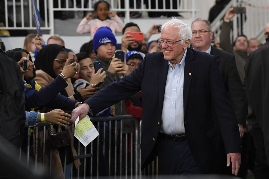 Democratic presidential candidate Sen. Bernie Sanders, I-Vt., arrives to speak during a campaign rally in Springfield, Va., Saturday, Feb. 29, 2020. (AP Photo/Susan Walsh)