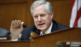 In this Feb. 5, 2020, file photo, Rep. Mark Meadows, R-N.C., ranking member of the House Committee on Oversight and Reform's Subcommittee on Government Operations, speaks during a hearing on the Trump administration's proposed poverty line calculation changes on Capitol Hill in Washington. (AP Photo/Patrick Semansky, File)