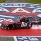 Alex Bowman celebrates with a burnout after winning a NASCAR Cup Series race by 8.9 seconds over Kyle Busch on Sunday in Fontana, California. (ASSOCIATED PRESS)