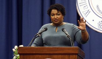 Stacey Abrams speaks at the unity breakfast Sunday, March 1, 2020, in Selma, Ala. (AP Photo/Butch Dill) ** FILE **