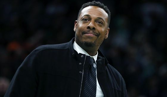 Former Boston Celtic Paul Pierce attends the NBA basketball game between the Celtics and the Houston Rockets in Boston, Saturday, Feb. 29, 2020. (AP Photo/Michael Dwyer)