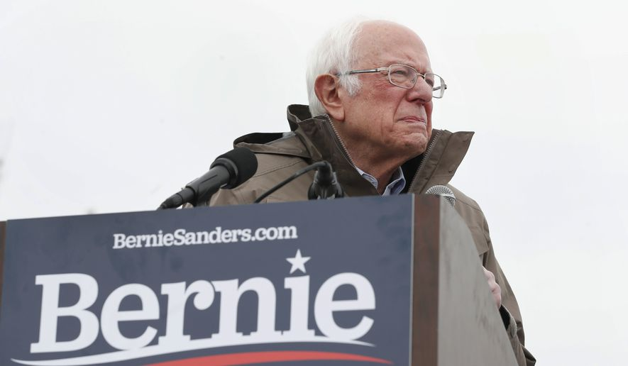 Democratic presidential candidate Sen. Bernie Sanders, I-Vt., speaks to supporters during a rally Monday, March 2, 2020, in Salt Lake City. (AP Photo/George Frey)