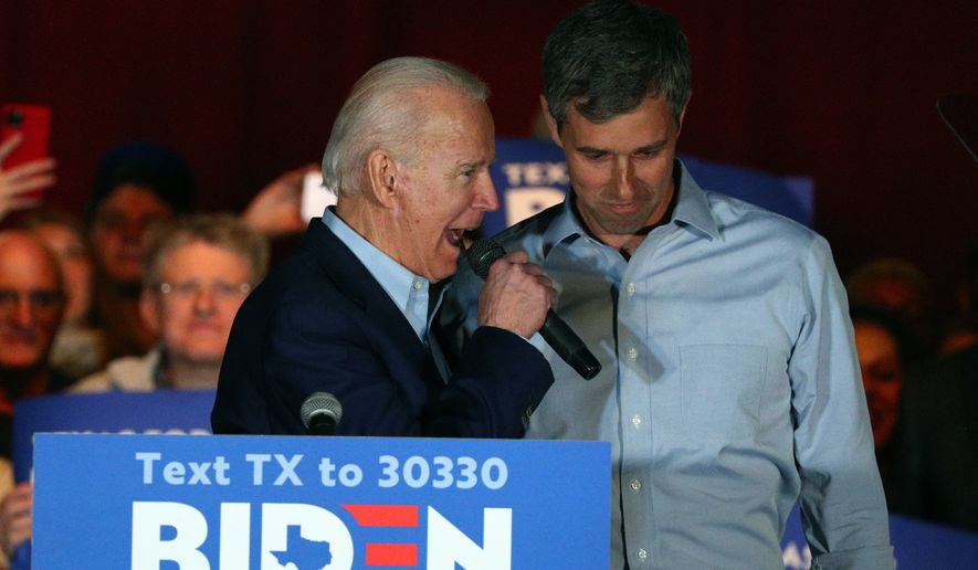 Democratic presidential candidate former Vice President Joe Biden speaks after former Texas Rep. Beto O'Rourke endorsed him at a campaign rally Monday, March 2, 2020 in Dallas. (AP Photo/Richard W. Rodriguez)