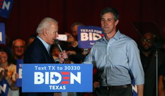 Former Texas Rep. Beto O'Rourke endorses Democratic presidential candidate former Vice President Joe Biden at a campaign rally Monday, March 2, 2020 in Dallas. (AP Photo/Richard W. Rodriguez)