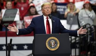 President Donald Trump speaks during a campaign rally in Charlotte, N.C., Monday, March 2, 2020. (AP Photo/Mike McCarn)