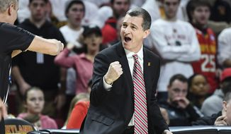 Maryland head coach Mark Turgeon reacts to a foul call during the first half of an NCAA college basketball game against Michigan State Saturday, February 29, 2020, in College Park, Md. (AP Photo/Terrance Williams) **FILE**